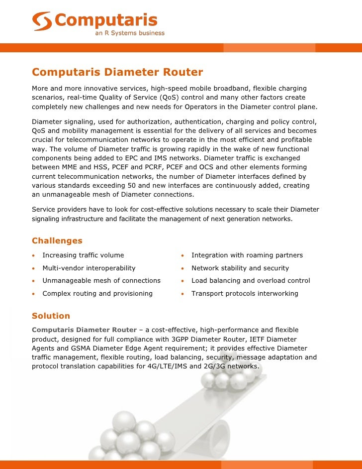 Computaris Diameter RouterMore and more innovative services, high-speed mobile broadband, flexible chargingscenarios, real...