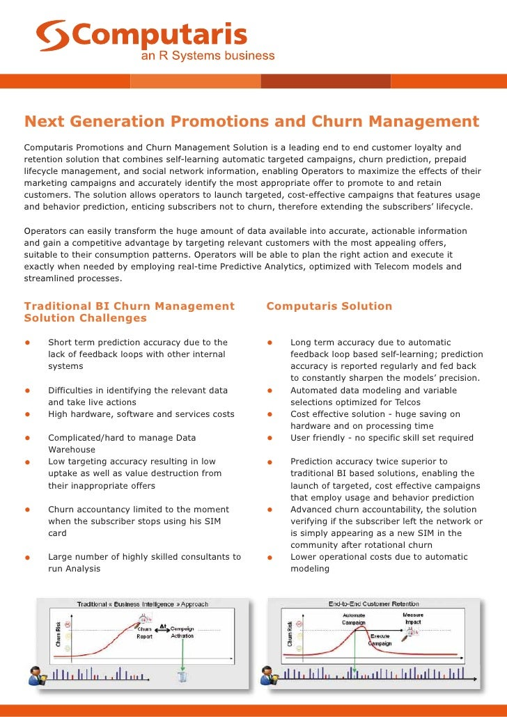 Next Generation Promotions and Churn ManagementComputaris Promotions and Churn Management Solution is a leading end to end...