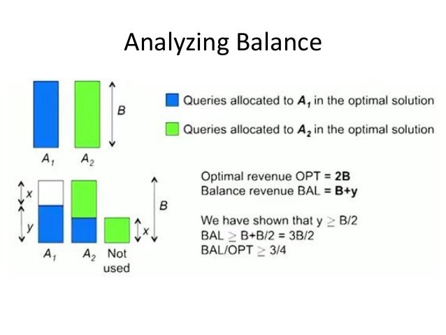 BALANCE: General Result • In the general case, worst case competitive ratio of BALANCE is 1-1/e = approx. 0.63 – Interesti...