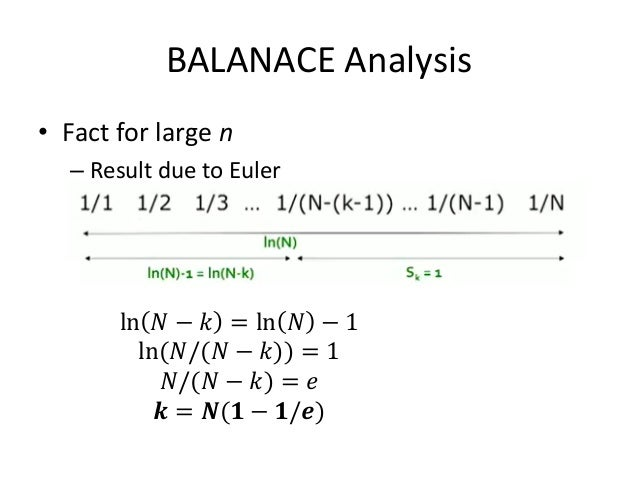 BALANACE Analysis • So after the first 𝑘 = 𝑁(1 − 1/𝑒) rounds, we cannot allocate a query to any advertiser • Revenue = 𝐵. ...