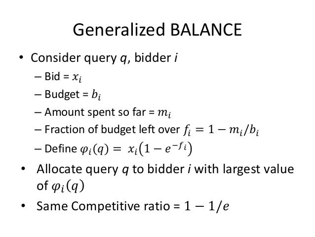 Conclusion • AdWords Problem • Limited Budget Problem • Solution of Limited Budget Problem – BALANCE Algorithm and Analysis