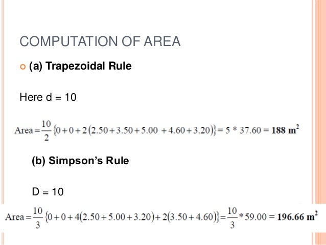 Computation of area