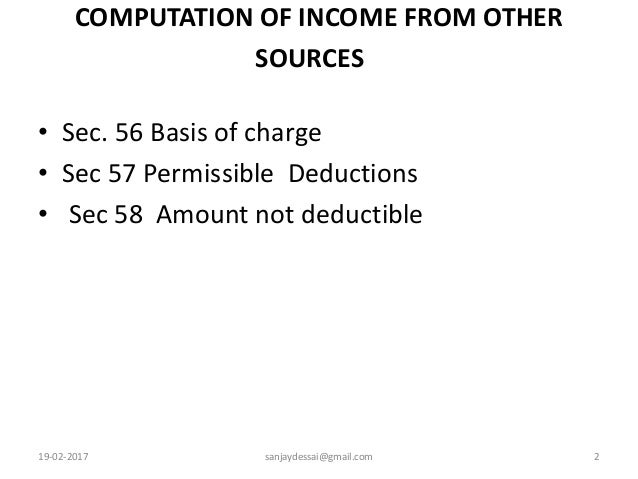 income from other sources section 56 Income under the head salaries - i dr gurminder kaur structure 40 introduction 41 objectives  income from other sources (section 56 – 59.