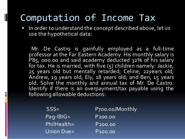 Computation of Income Tax In order to understand the concept described above, let us  use the hypothetical data:   Mr. De...