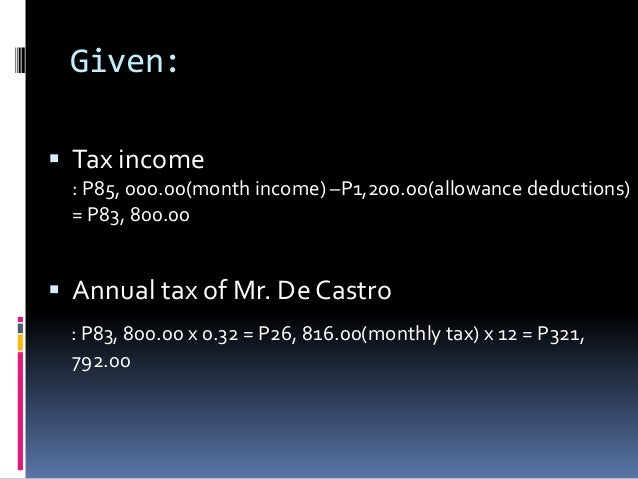 Given: Tax income  : P85, 000.00(month income) –P1,200.00(allowance deductions)  = P83, 800.00 Annual tax of Mr. De Cast...