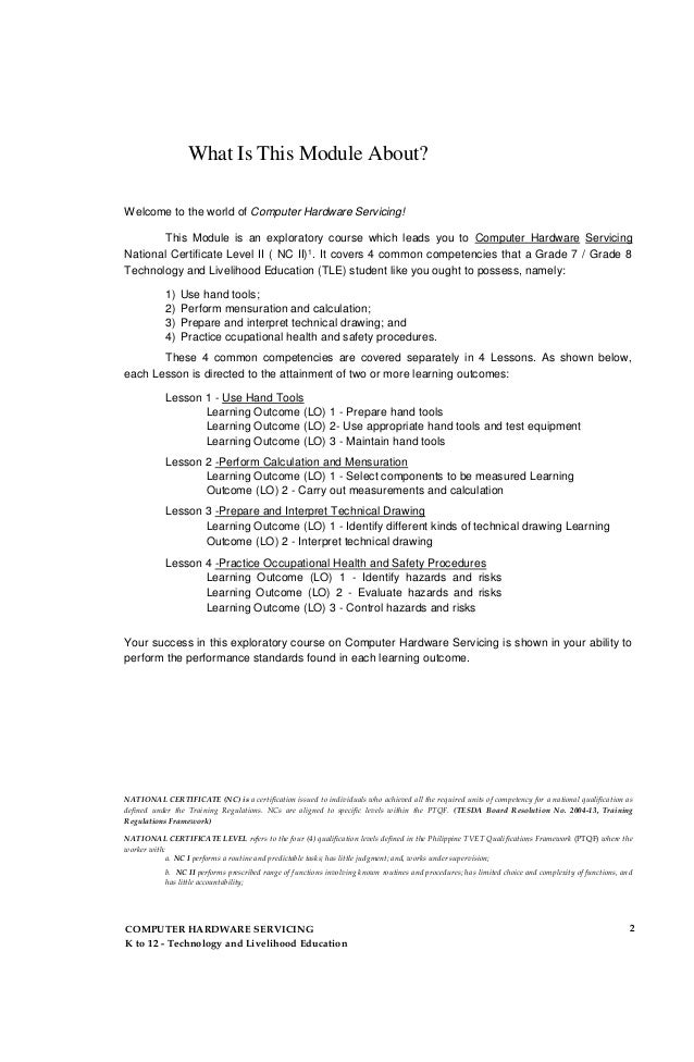 Computer Hardware Servicing Learning Module