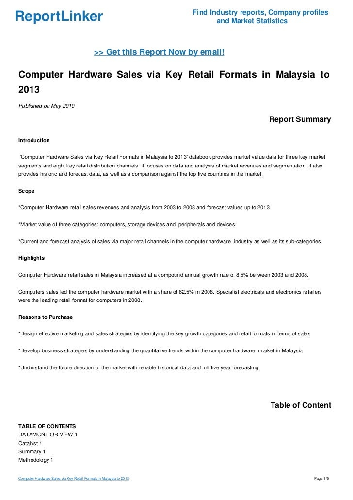 Computer Hardware Sales via Key Retail Formats in Malaysia to 2013