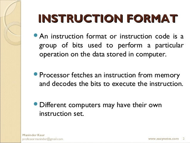 Computer Instructions