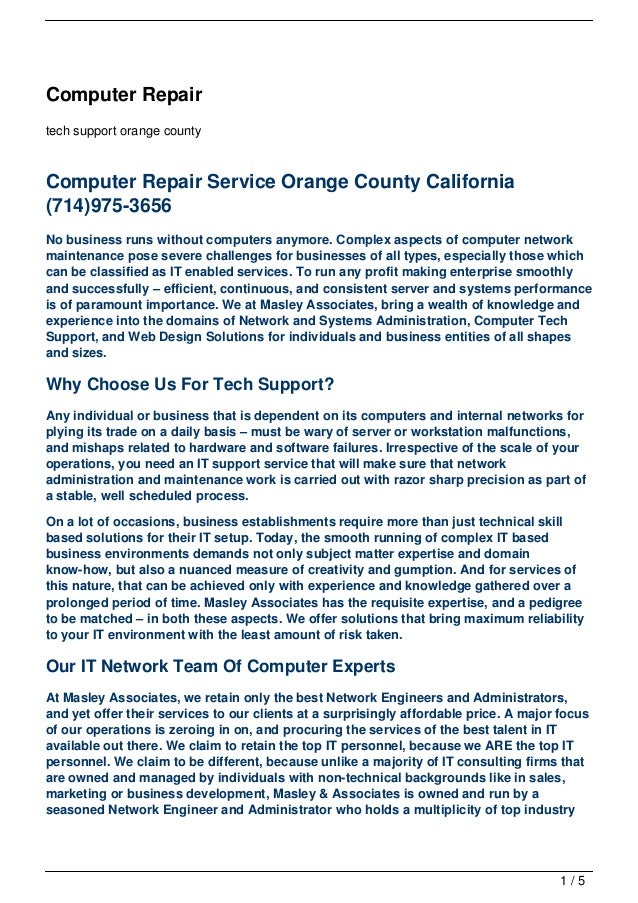Computer Repairtech support orange countyComputer Repair Service Orange County California(714)975-3656No business runs wit...