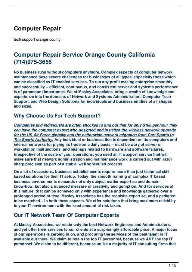 Computer Repairtech support orange countyComputer Repair Service Orange County California(714)975-3656No business runs wit...