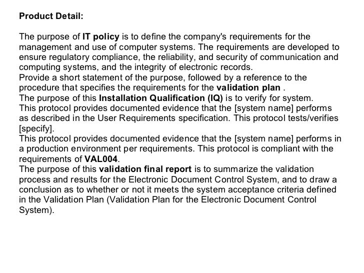 Computer System Validation Basic Documentation Package Slide 2