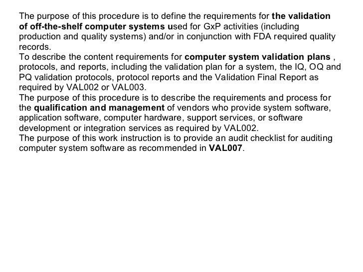 Computer System Validation Basic Documentation Package Slide 3
