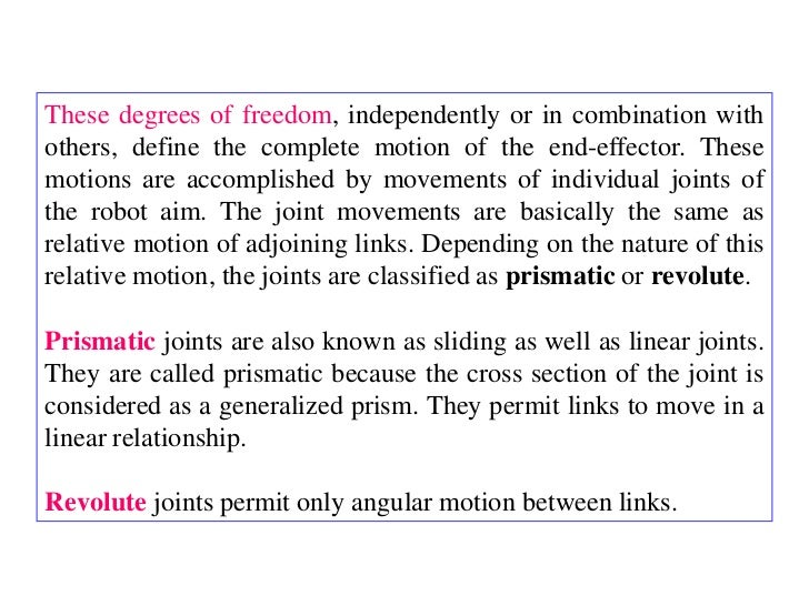 These degrees of freedom, independently or in combination withothers, define the complete motion of the end-effector. Thes...