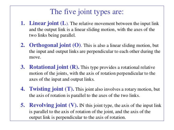 The five joint types are:1. Linear joint (L). The relative movement between the input link    and the output link is a lin...