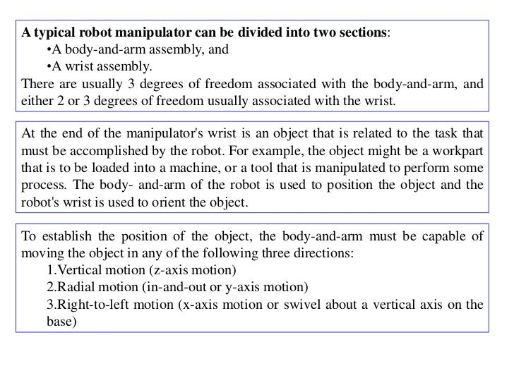 A typical robot manipulator can be divided into two sections:     •A body-and-arm assembly, and     •A wrist assembly.Ther...
