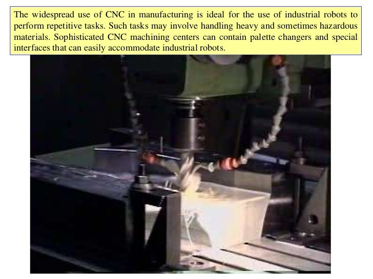 The widespread use of CNC in manufacturing is ideal for the use of industrial robots toperform repetitive tasks. Such task...