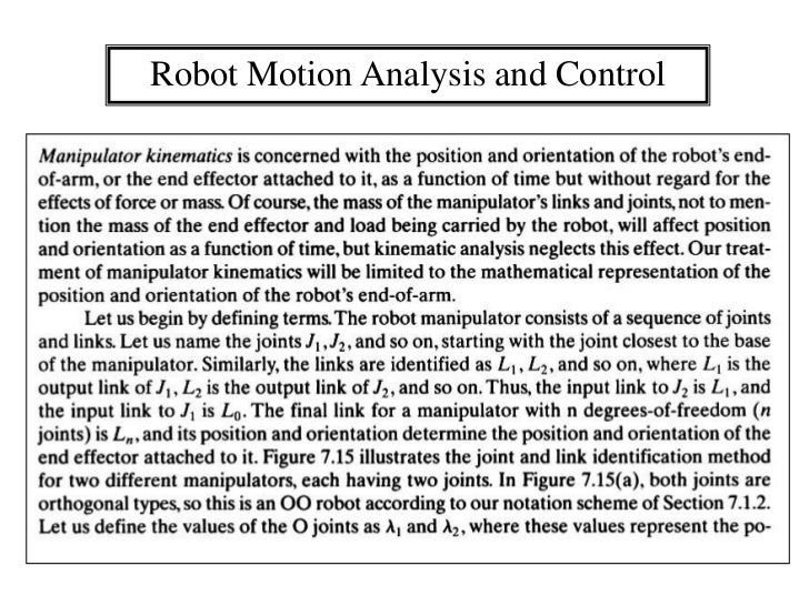 Robot Motion Analysis and Control