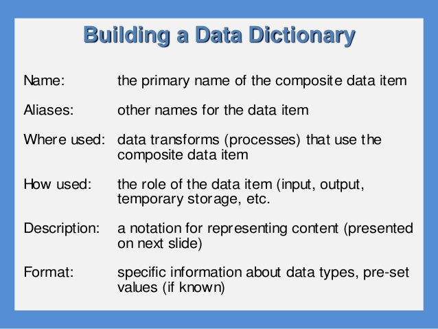 What is a data dictionary for Construction dictionary