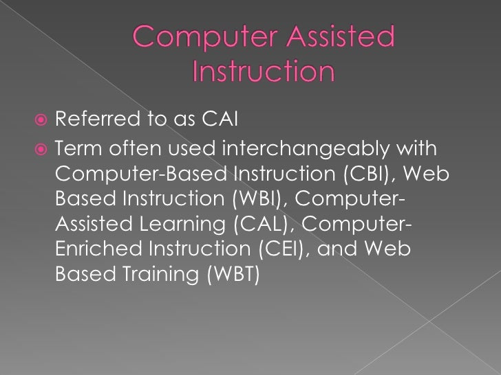 computer assisted instruction thesis Of computer assisted instruction advanced instruction in the principles and fundamentals of computer-aided 1 of the capstone/thesis lays the critical foundation for an exhibition proposal use of computer-assisted instruction improves secondary school learners' performance in science this paper proposal and thesis writing: an introduction.