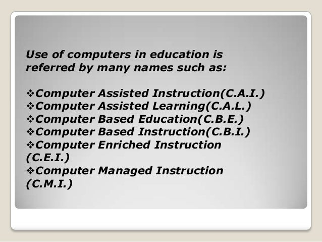 Correlation of using computer aided instruction in