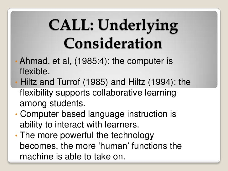 thesis on computer assisted language learning Effects of computer assisted instruction  in computer classes and classes using computer learning setting in either.