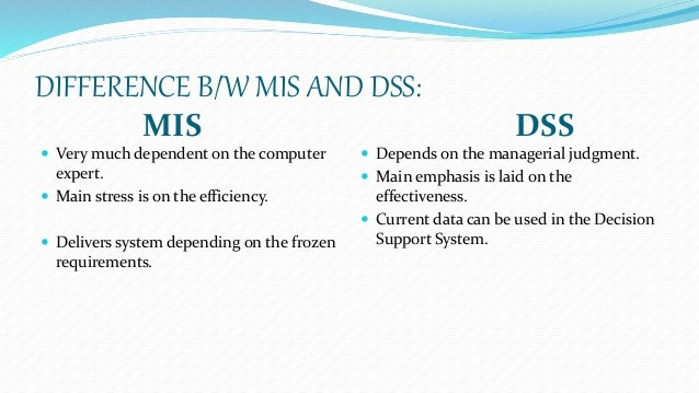 The role of mis and dss