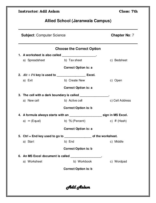 Computer Science Class 7 Chapter 7 Solution