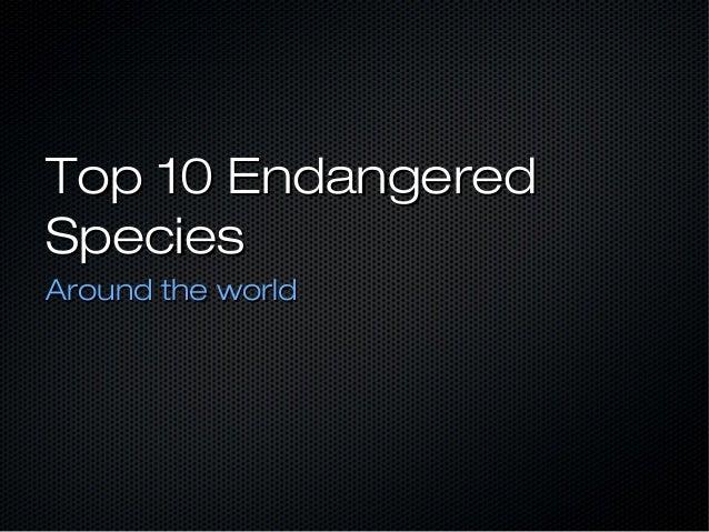 Top 10 EndangeredTop 10 EndangeredSpeciesSpeciesAround the worldAround the world