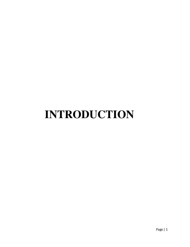 Page | 1 INTRODUCTION