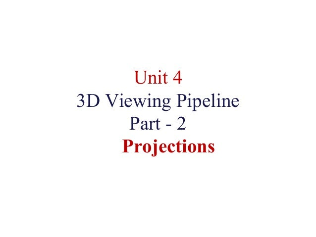 Unit 4 3D Viewing Pipeline Part - 2 Projections