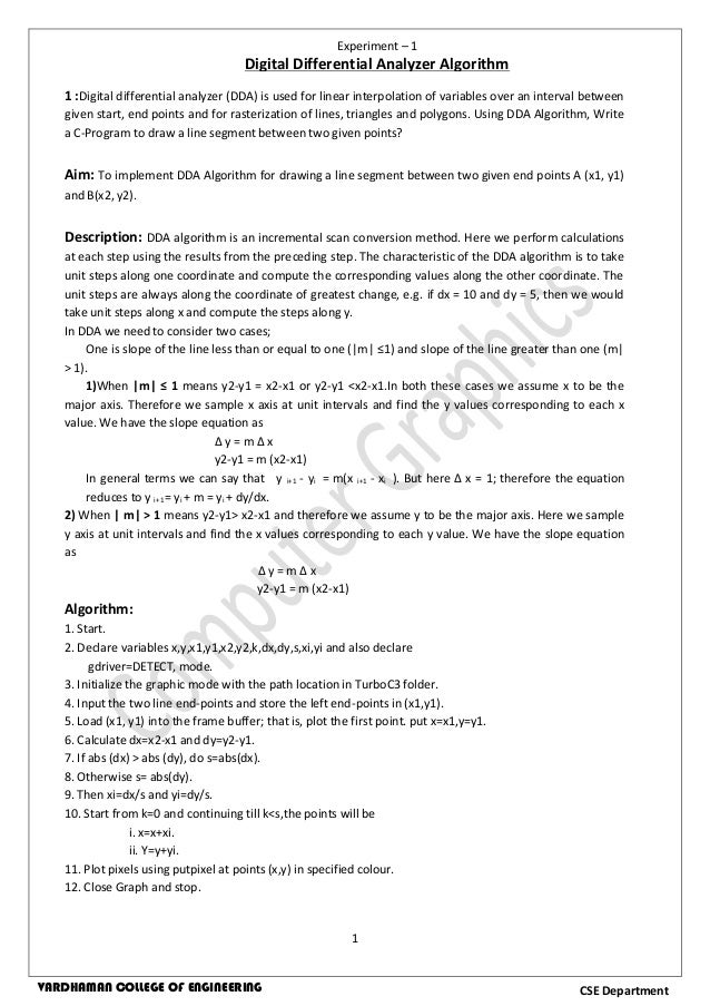 Digital Differential Analyzer Line Drawing Algorithm In Java : Computer graphics lab manual