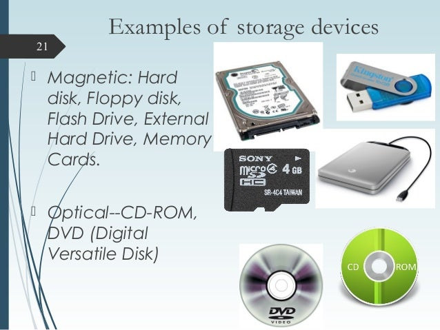 storage devices with examples and defination Purpose: this standard provides common definitions for terms used in the information security policies, standards, procedures and guidelines at the university of florida.