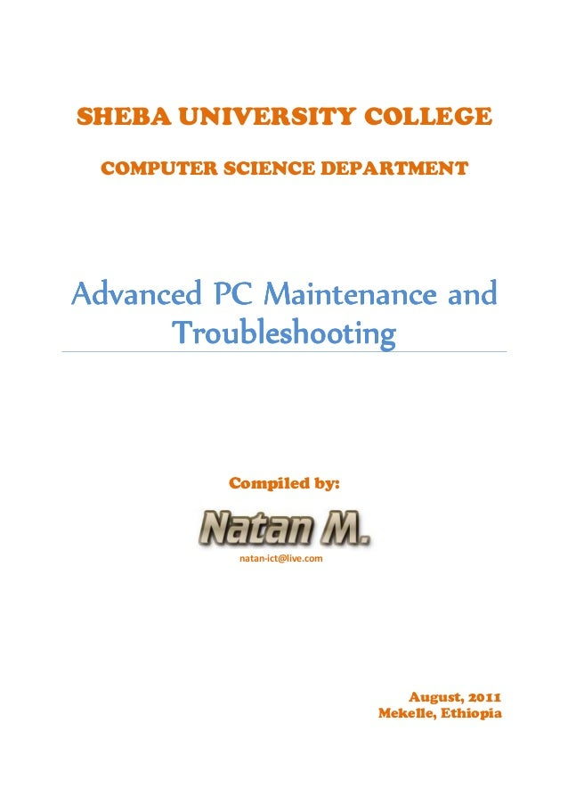 SHEBA UNIVERSITY COLLEGE COMPUTER SCIENCE DEPARTMENT AdvancedAdvancedAdvancedAdvanced PC Maintenance andPC Maintenance and...