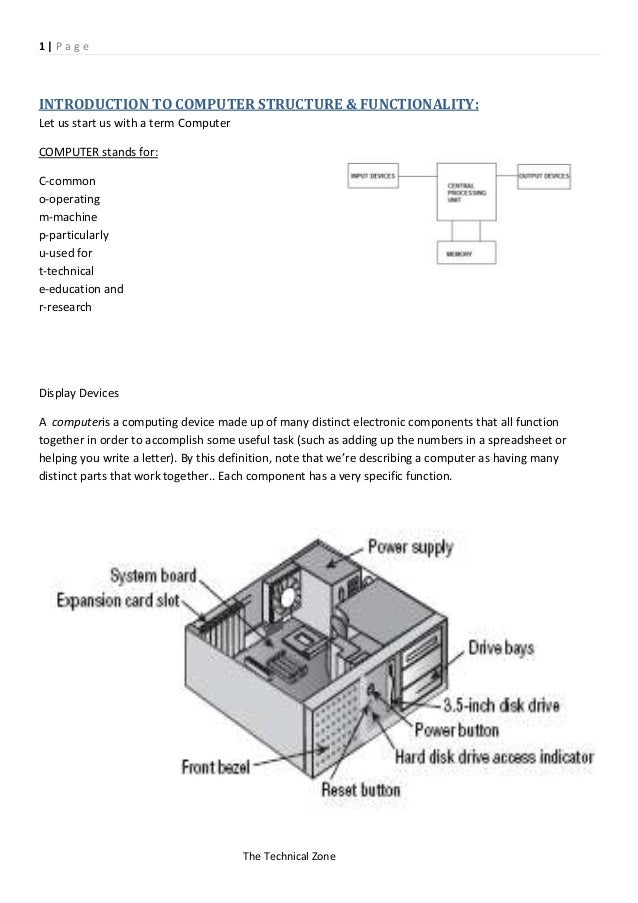 1|PageINTRODUCTION TO COMPUTER STRUCTURE & FUNCTIONALITY:Let us start us with a term ComputerCOMPUTER stands for:C-commono...