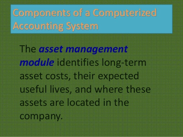 components of a computerized accounting system Typical functions included scientific calculations and accounting computer viruses and worms with a focus on the components of information systems.