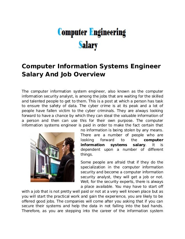 computer information systems engineer salary and job overview