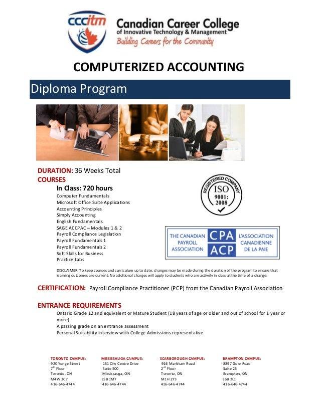 Canadian Career College Computerized Accounting And Payroll