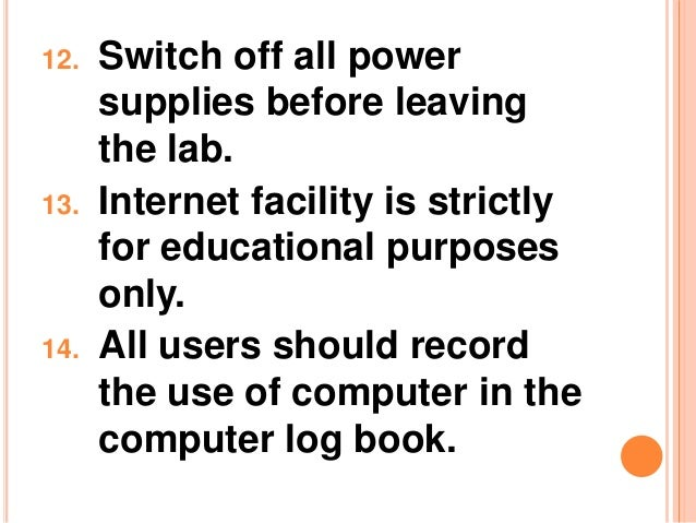 computer lab rules regulations Software may be installed by computer labs  violates these laws illegal use of materials in the labs is grounds for denial  these lab rules may result .
