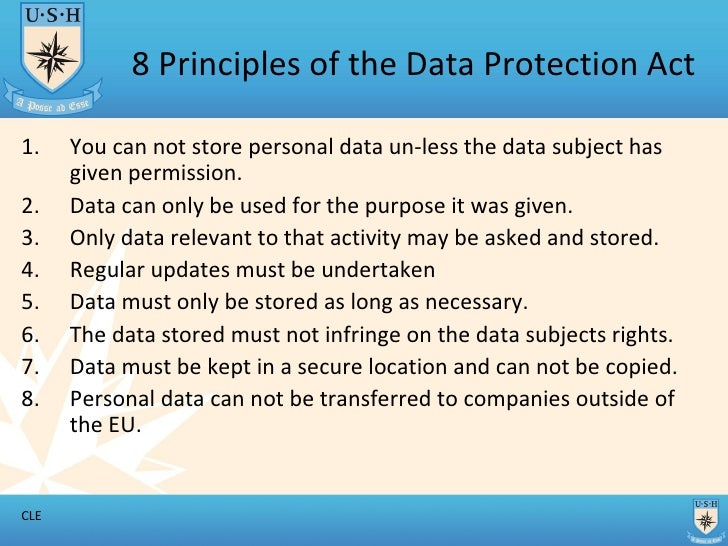 8 Principles Of The Data Protection