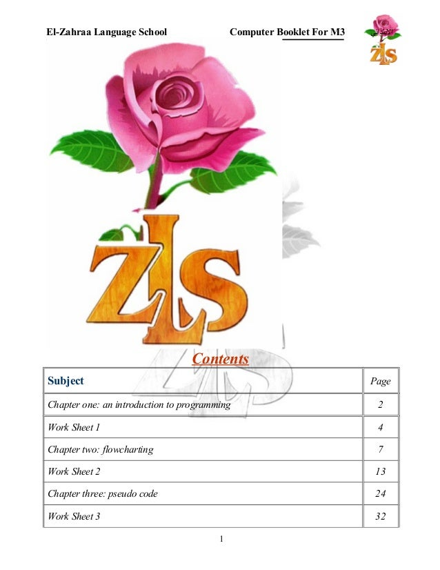 El-Zahraa Language School Computer Booklet For M البتتدائي 3  Contents  Subject Page  Chapter one: an introduction to prog...