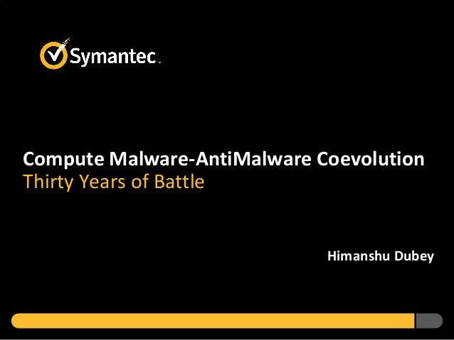 Compute Malware-AntiMalware Coevolution Thirty Years of Battle Himanshu Dubey