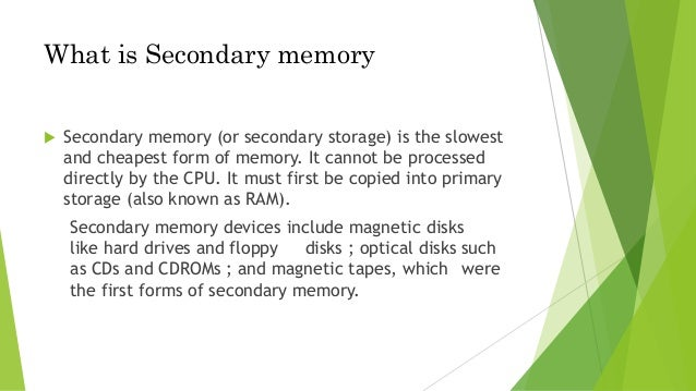 what is the difference between secondary storage ram and rom What are the similarities between secondary storage devices and  (rom) and random-access memory  what is the difference between primary storage device and.