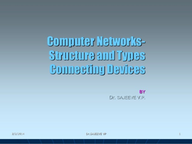 Computer NetworksStructure and Types Connecting Devices BY Dr. SAJEEVE V.P.  2/2/2014  Dr.SAJEEVE VP  1