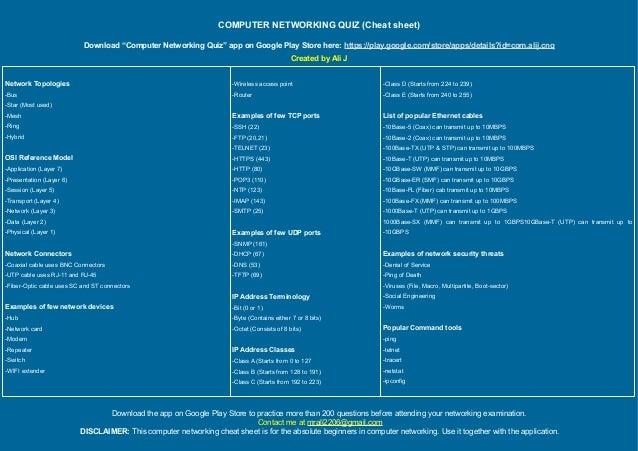 Computer Networking Quiz Cheat Sheet