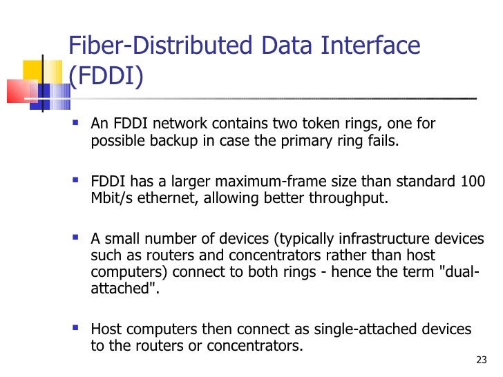 fddi and cddi Difference between token-ring and arcnet i think fddi and cddi have kind of fallen by the wayside in the wake of gigabit ethernet 0.