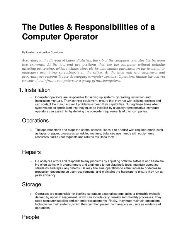 Job Description For Computer Programmer