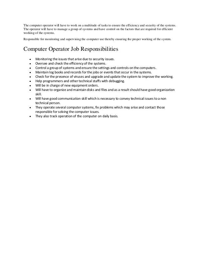 Computer Operator Duties And Responsibilities