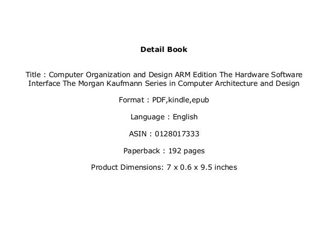 Textbook Library Computer Organization And Design Arm Edition The
