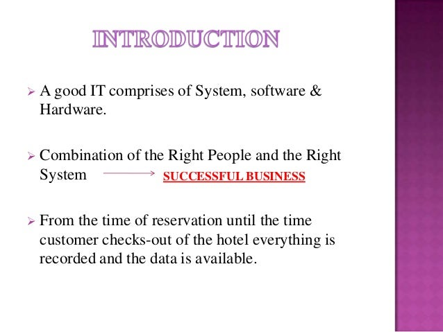 computer application in hotel industry pdf