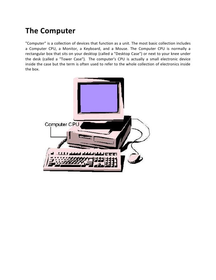 "The Computer<br />"" Computer""  is a collection of devices that function as a unit. The most basic collection includes a Co..."